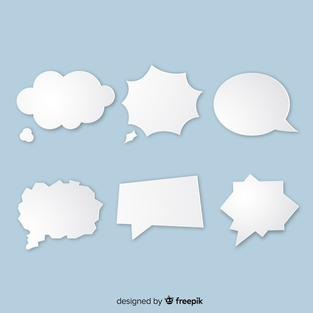 Paper style speech bubble variety Free Vector