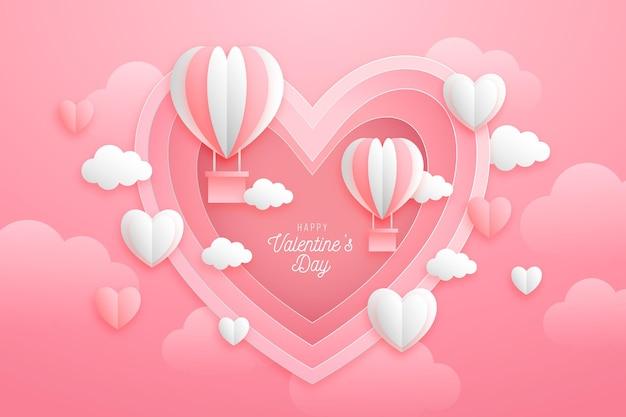 紙のスタイルのバレンタインデーの背景 無料ベクター