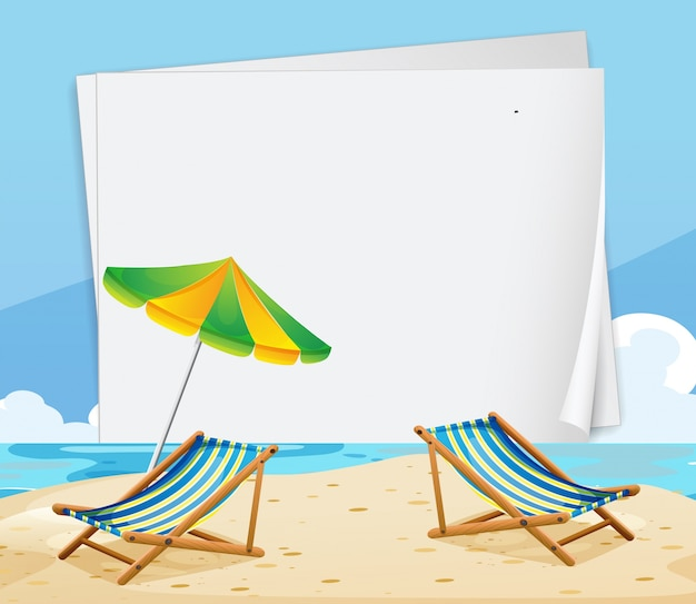 paper template with chairs on the beach vector free download