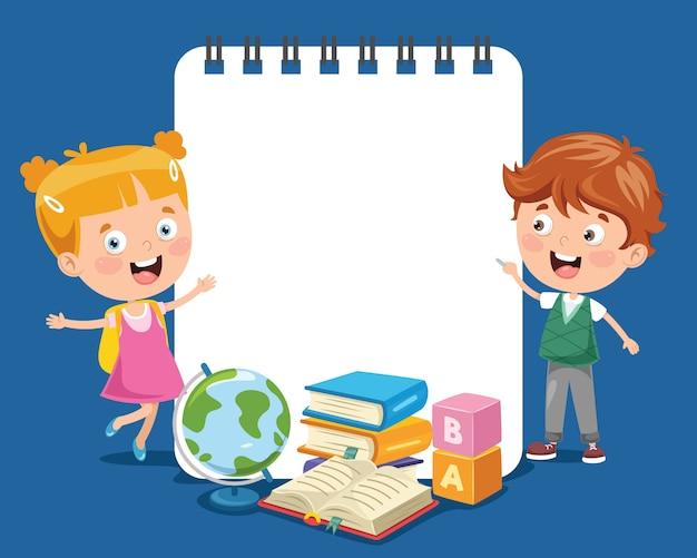 Бумажный шаблон с детьми Premium векторы