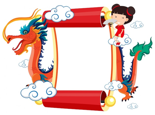 Paper template with chinese dragon and girl Vector   Premium Download