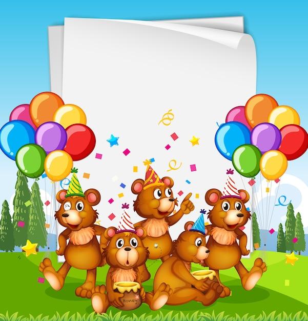 パーティーをテーマにかわいい動物と紙のテンプレート Premiumベクター