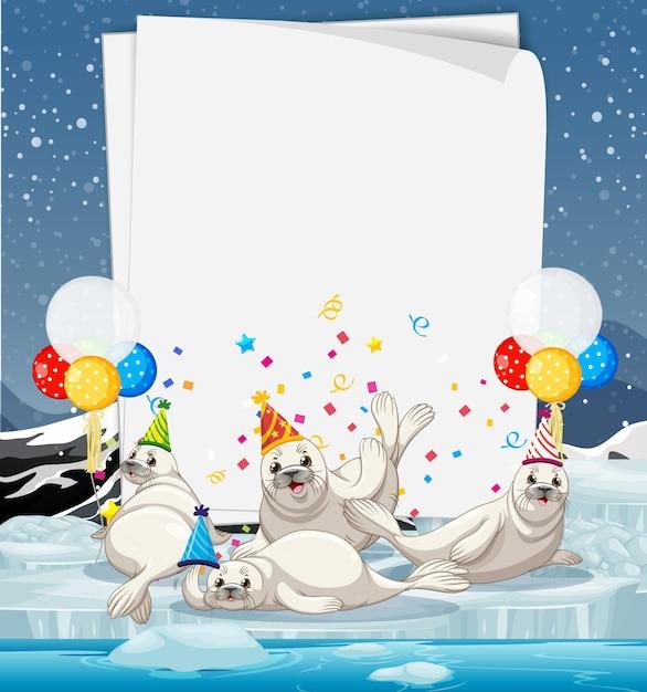 Бумажный шаблон с милыми животными в тематике вечеринки Бесплатные векторы