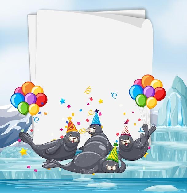 Бумажный шаблон с милыми животными в тематике вечеринки Premium векторы