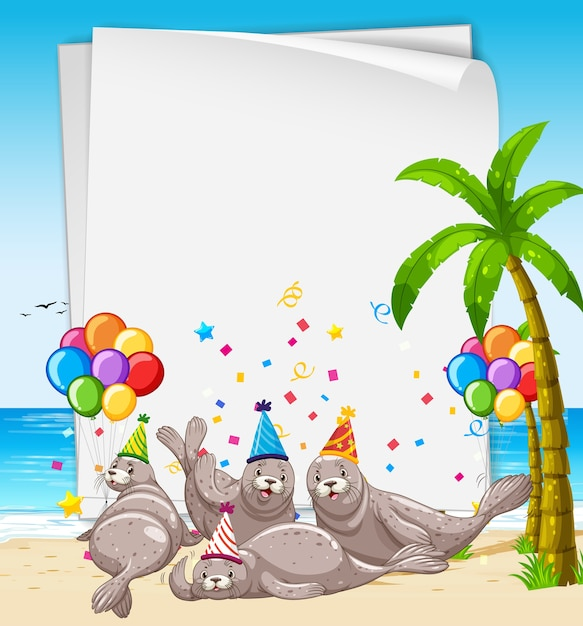 Paper template with cute animals in party theme Free Vector