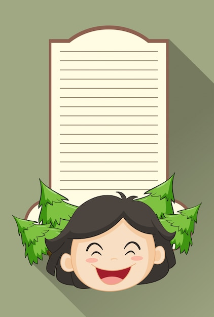 paper template with girl and pine trees