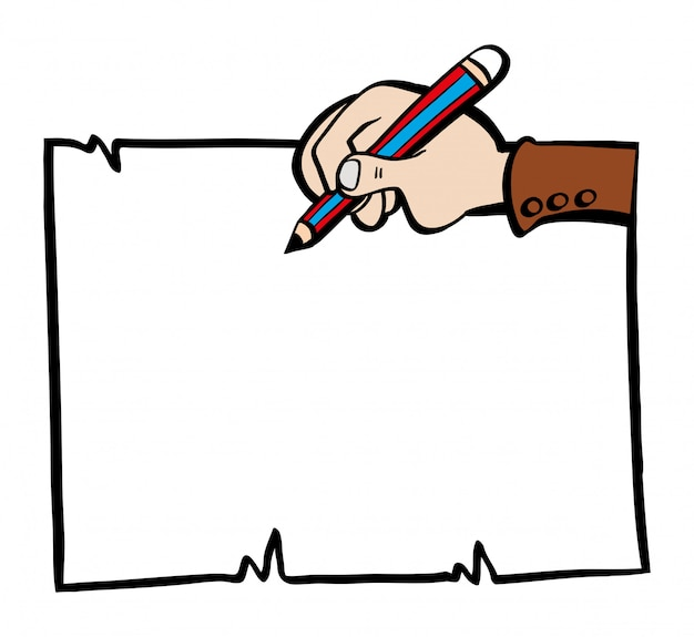 Paper template with hand and pencil Free Vector