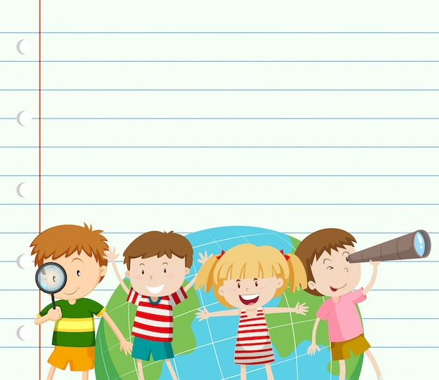 paper template with kids and earth vector free download