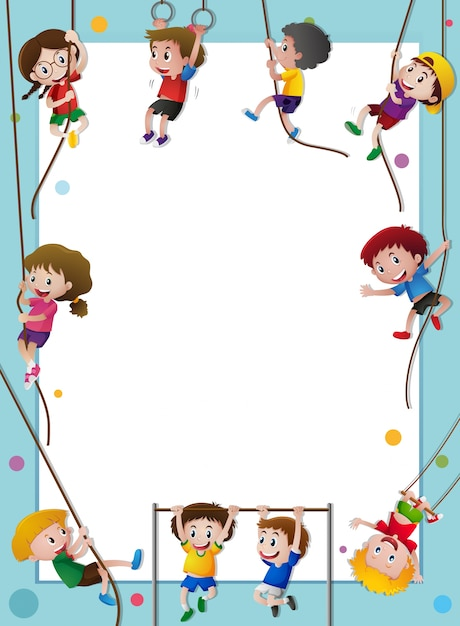 Paper template with kids climbing rope Free Vector