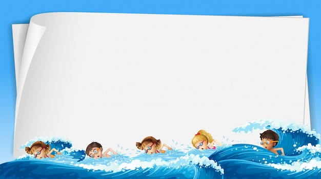 paper template with kids swimming in ocean vector free download