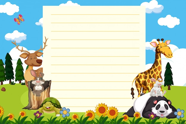 Paper template with many animals in garden Free Vector