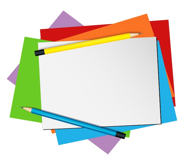 paper template with pencils and color papers vector free download