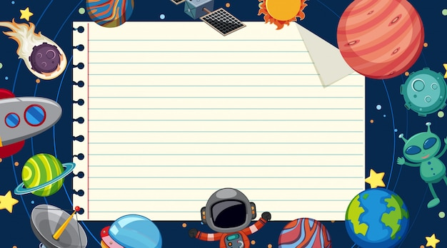 Paper template with planets in space background Premium Vector