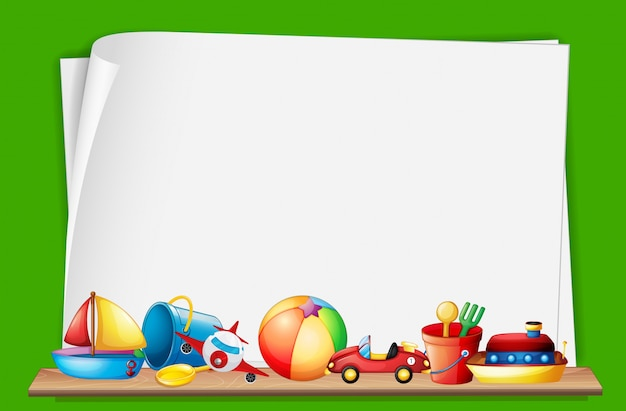 Paper Template With Toys In Background Vector Free Download
