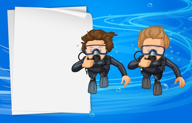 Paper Template With Two Scuba Divers Premium Vector