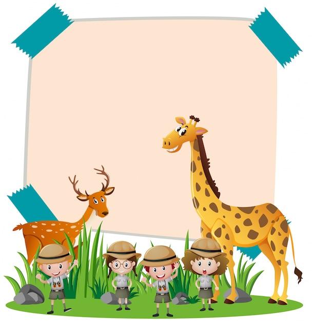 Бумажный шаблон с дикими животными и детьми Premium векторы