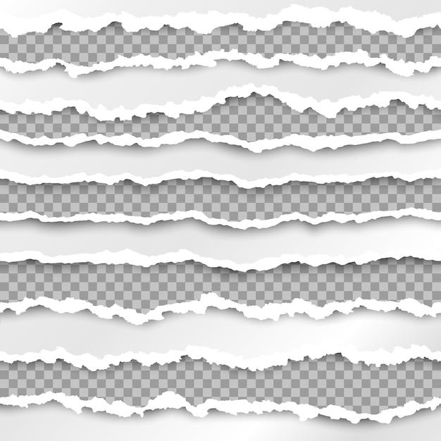 Текстура бумаги с поврежденным краем, изолированные на прозрачном фоне Premium векторы
