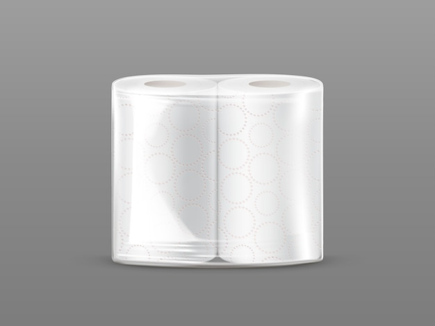 Paper towel package mockup with transparent wrapping isolated on grey background. Free Vector