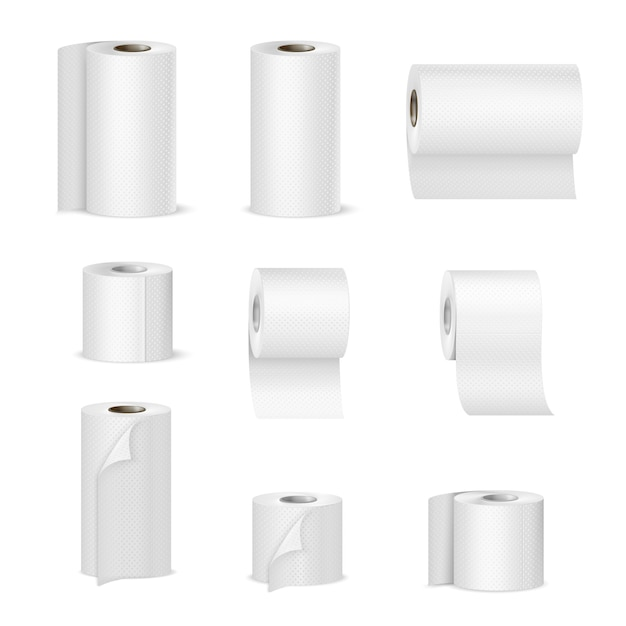 Paper towels toilet rolls realistic Free Vector