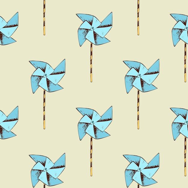 종이 풍차 패턴. 바람개비 장난감 및 원활한 배경입니다. 무료 벡터