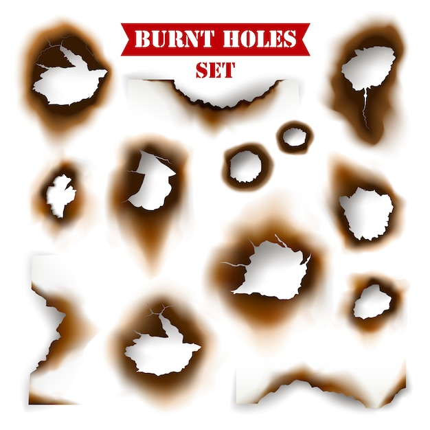 Paper with burnt holes background Free Vector
