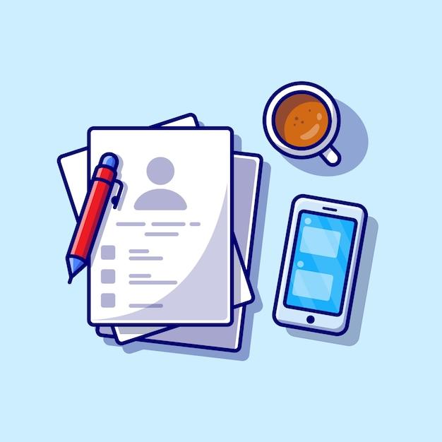 Carta con caffè, telefono e penna icona del fumetto illustrazione. concetto dell'icona dell'oggetto di affari isolato. stile cartone animato piatto Vettore gratuito
