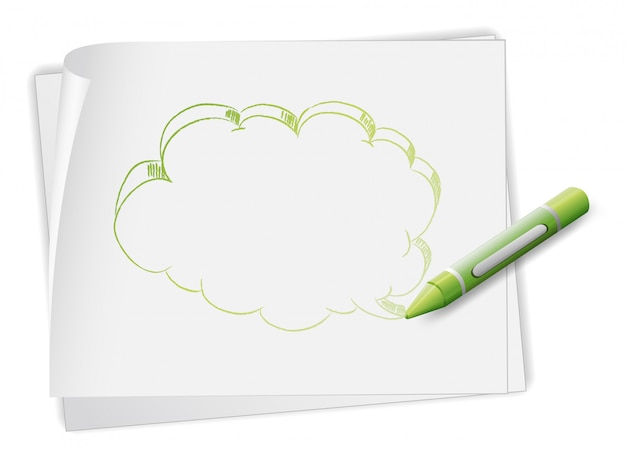A paper with an image of a callout and a crayon Free Vector