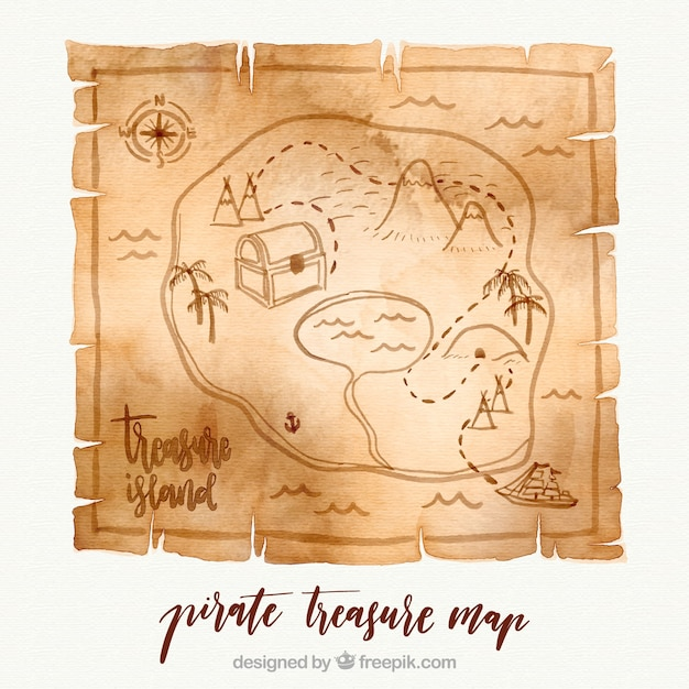 Paper with watercolor pirate treasure map Free Vector