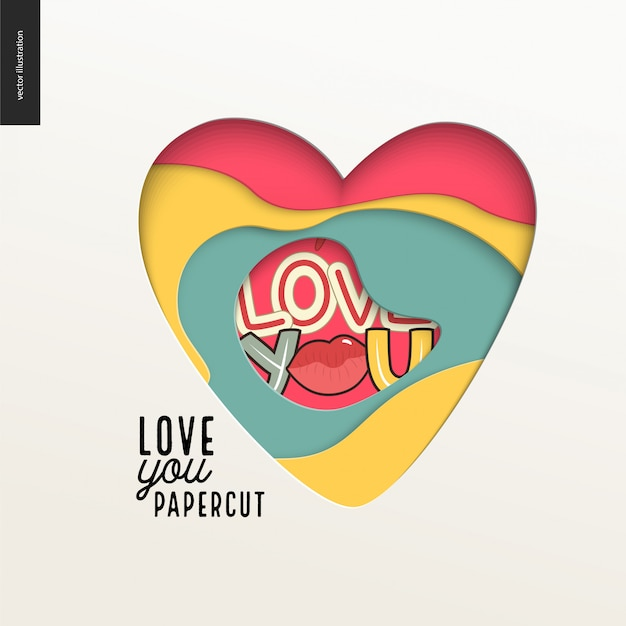 Papercut - colorful layered heart Premium Vector