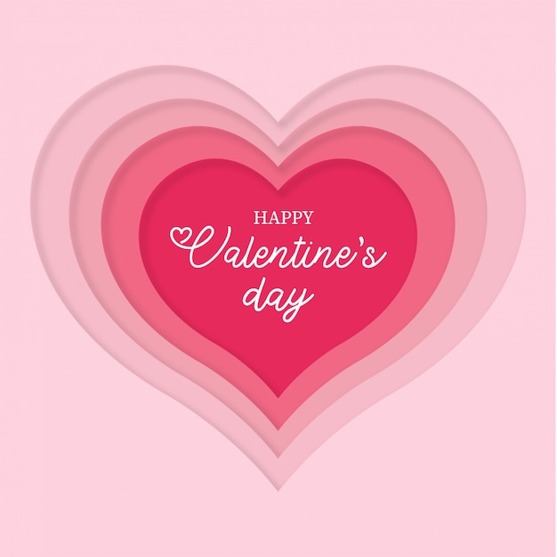 Papercut heart for valentine's day Free Vector