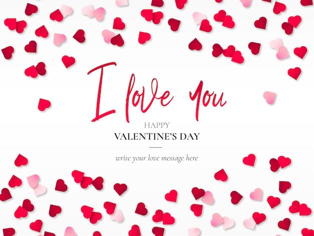 Papercut heartsと美しいバレンタインの背景 無料ベクター