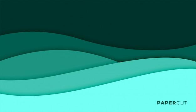 Абстрактный бирюзовый цвет papercut стиль фона дизайн Бесплатные векторы
