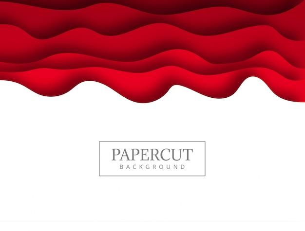 波の背景と抽象的な赤いpapercut 無料ベクター