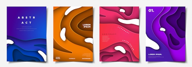 カラフルな抽象的なpapercutカバーテンプレートコレクション Premiumベクター