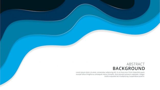 青の抽象的な波状形スタイリッシュなpapercut背景デザイン Premiumベクター
