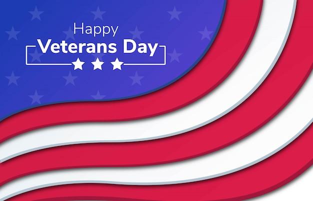 幸せな退役軍人の日papercut背景 Premiumベクター