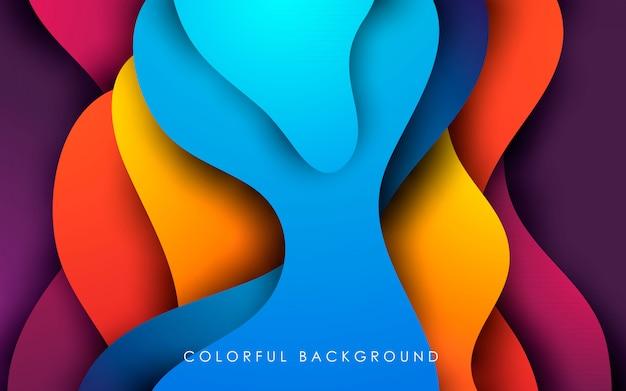 Градиент жидкого цвета papercut фон Premium векторы