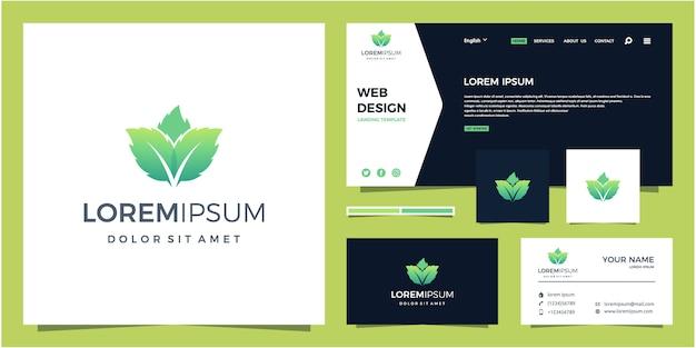 Pappermint leaf logo Premium Vector