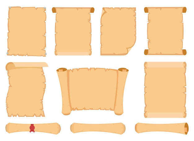 파피루스 스크롤 디자인 일러스트 흰색 배경에 고립 프리미엄 벡터