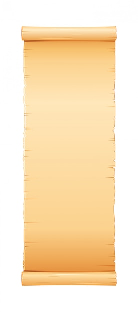 Papyrus scroll, parchment paper with old texture, vintage  banner. Premium Vector