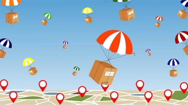 Parachute delivery Premium Vector