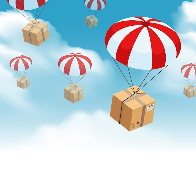 Parachute parcel delivery composition Free Vector