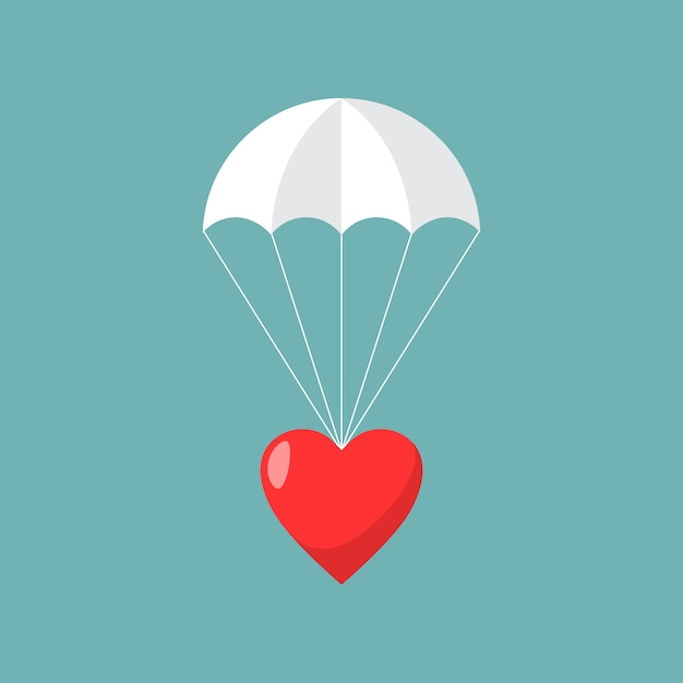 Parachute with heart. concept of sending love. Premium Vector