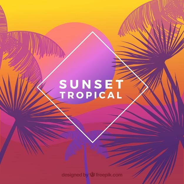 Paradise spiaggia tropicale con bel tramonto Vettore gratuito