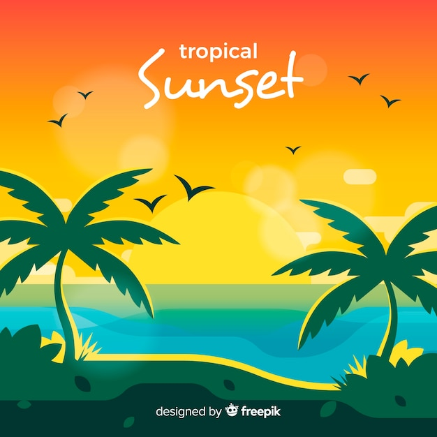 Paradise tropical beach with lovely sunset Free Vector