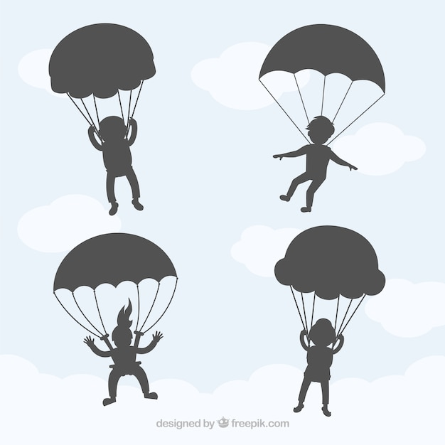 Paragliders skydiving in the sky vector shadows Free Vector