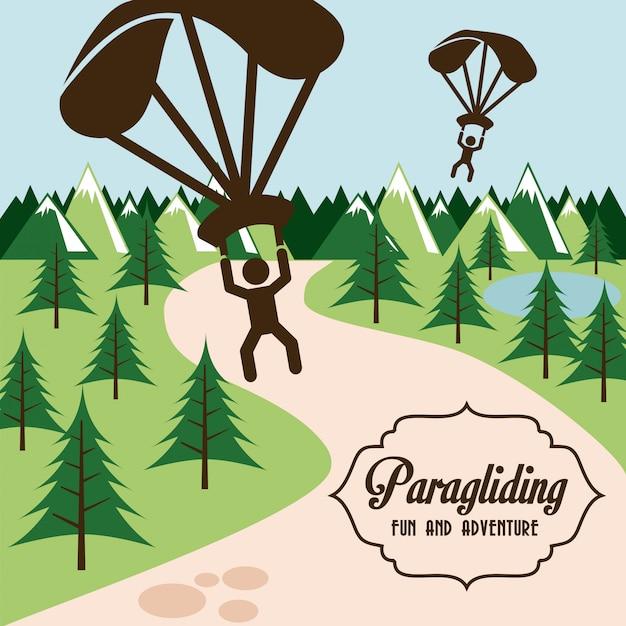 Paragliding design over landscape background Premium Vector