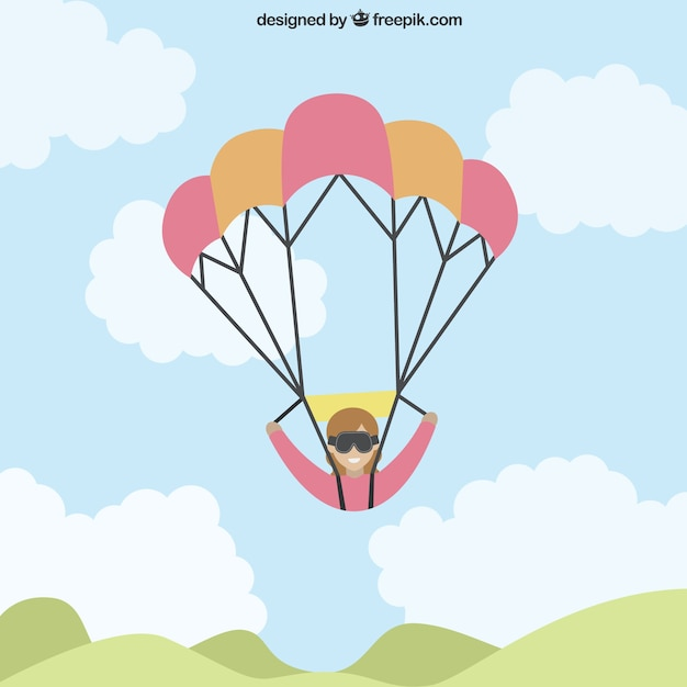 Paragliding in flat design Free Vector