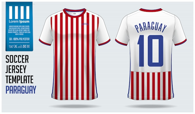 Paraguay soccer jersey mockup or football kit template. Premium Vector