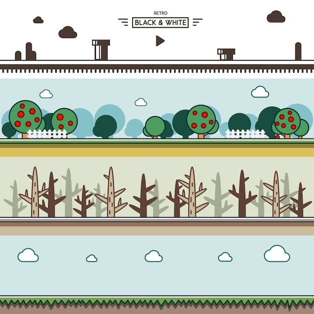 Parallax backgrounds for video games Premium Vector